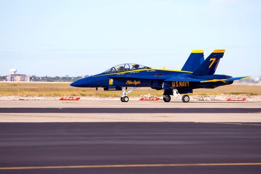 Blue Angels Lt. Cmdr. Adam Kerrick and Lt. Cary Rickoff fly into the Naval Air Station Corpus Christi on Monday, November 26, 2018, for a winter visit to review plans for the upcoming Wings Over South Texas Air Show. The Blue Angels are the headline act of the show, which is April 13-14.