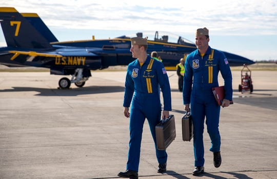 Blue Angels pilots Lt. Cary Rickoff (left) and Lt. Cmdr. Adam Kerrick arrive at Naval Air Station Corpus Christi on Monday, Nov. 26, 2018, to review plans for the upcoming Wings Over South Texas Air Show. The Blue Angels are the headline act of the show, which is scheduled for April 13-14.