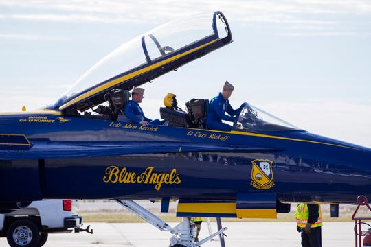 Blue Angels Lt. Cmdr. Adam Kerrick (left) and Lt. Cary Rickoff arrive at the Naval Air Station Corpus Christi on Monday, November 26, 2018, for a winter visit to review plans for the upcoming Wings Over South Texas Air Show. The Blue Angels are the headline act of the show, which is April 13-14.