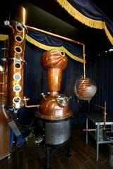A 50-gallon copper still that artisan distillery Second Sight Spirits uses to make its liquors in Ludlow, Ky. The still was designed to look like a turban-clad fortune teller. Photo shot Tuesday April 14, 2015.
