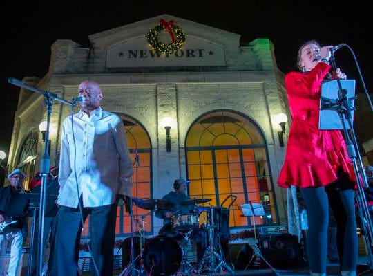 The 10th Annual Light Up the Levee Celebration kicked off Sunday, Nov. 25, 2018. Cybele McGazi lead female vocalist of the Clyde Brown Band.