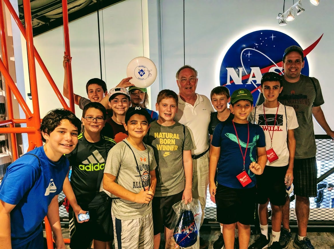 A highlight of a recent STEM field trip to Florida for Edison 7th graders was the chance to meet Space Shuttle Astronaut Jerry Ross (center) who discussed his 13 shuttle missions and time spent on the International Space Station.