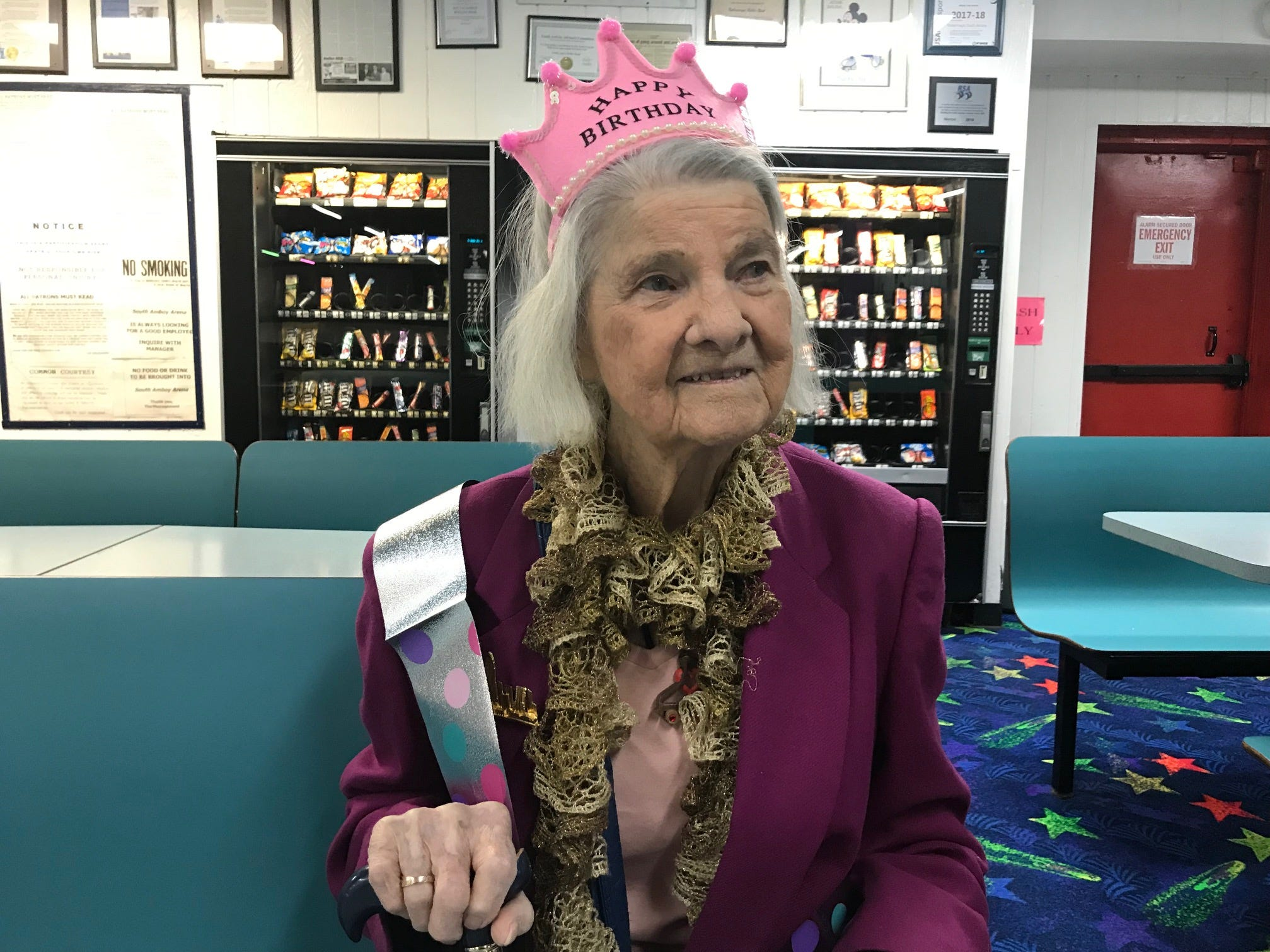 Carrie Callandrullo celebrated her 100th birthday Nov. 14 with her friends at the skating rink. At least twice a week, more than 20 seniors regularly gather at South Amboy Arenaand take to the rink for a couple hours of roller skating. They range in age from 55 to 100.
