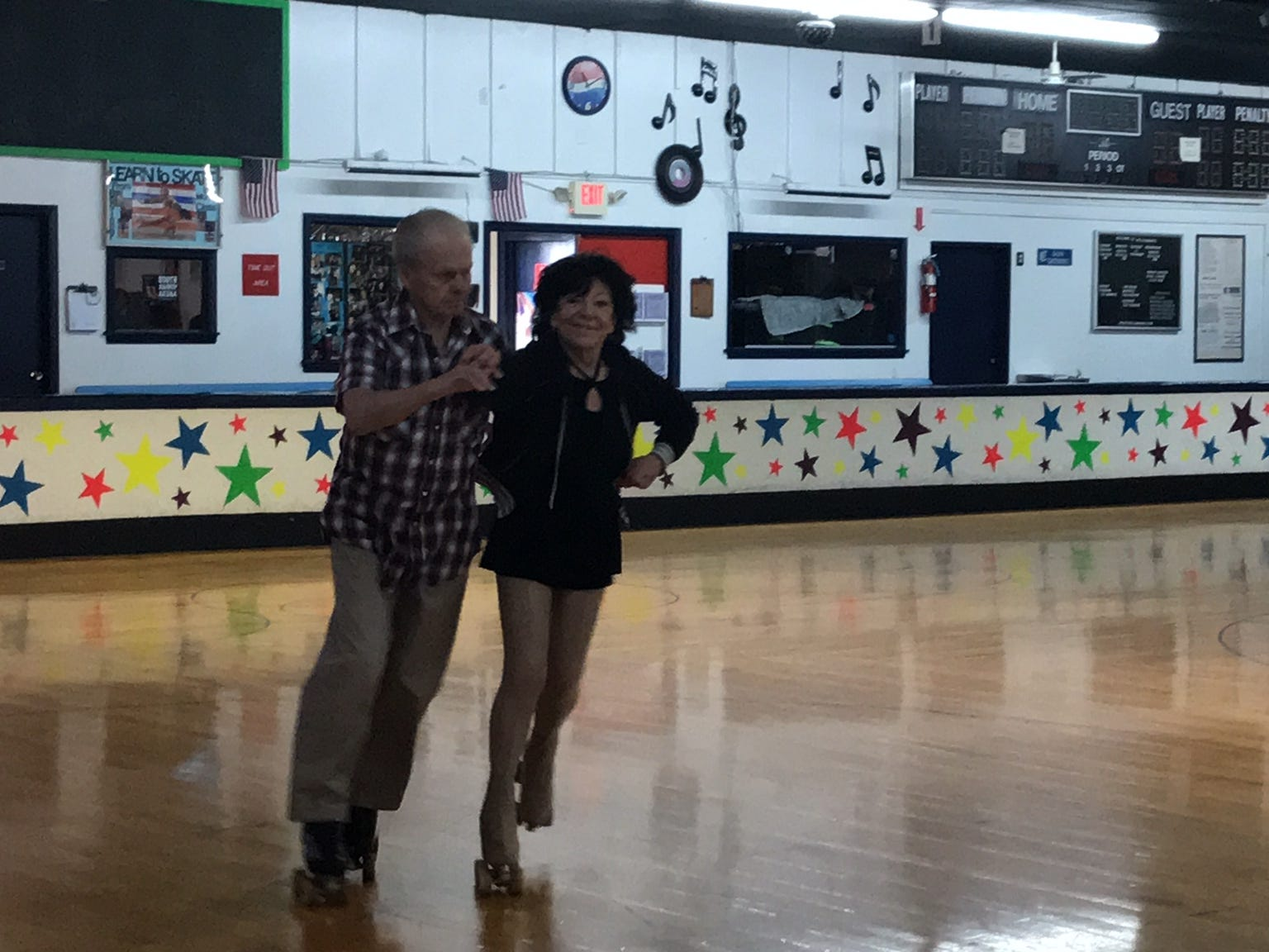 """At least twice a week, more than 20 seniors, including Eddie Daly of Newark and Betty """"Betty Boop"""" SamMarco of Staten Island, regularly gather at South Amboy Arenaand take to the rink for a couple hours of roller skating. They range in age from 55 to 100."""