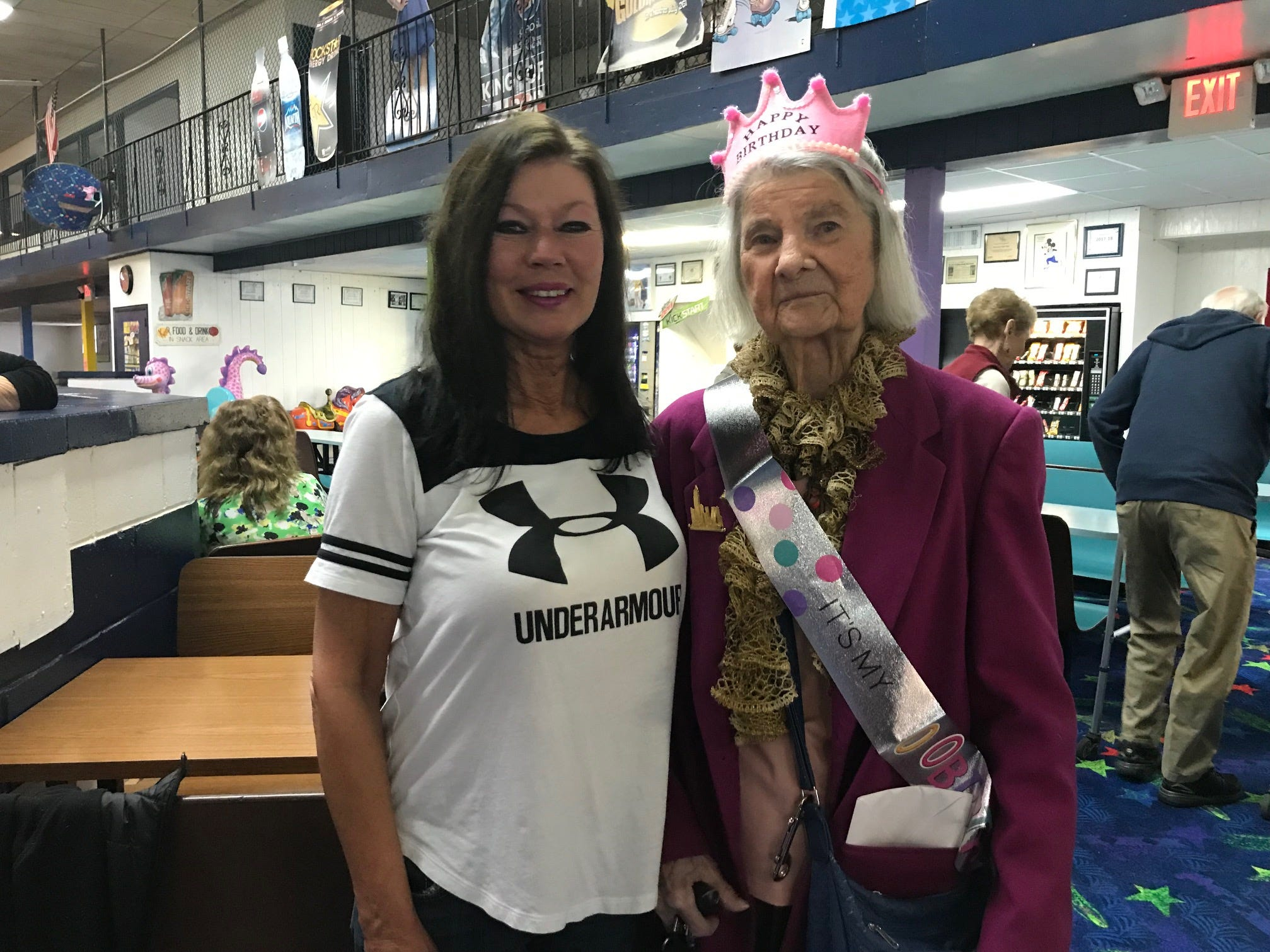 Carrie Callandrullo, with South Amboy Arena owner Jeanne Durnye, Dcelebrated her 100th birthday Nov. 14 with her friends at the skating rink. At least twice a week, more than 20 seniors regularly gather at South Amboy Arenaand take to the rink for a couple hours of roller skating. They range in age from 55 to 100.