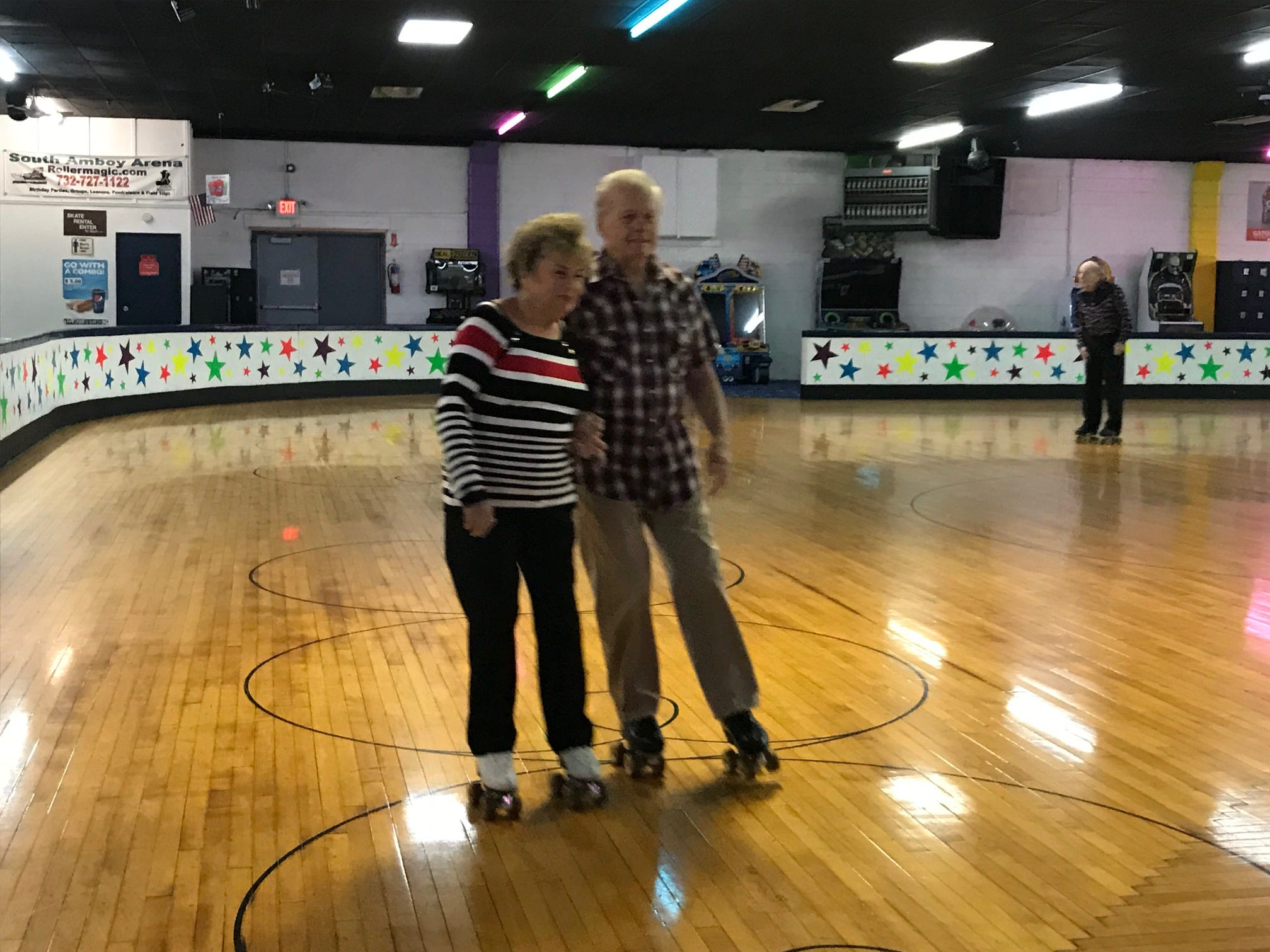At least twice a week, more than 20 seniors, including Joannie Costello of Woodbridge and Eddie Daly of Newark, regularly gather at South Amboy Arenaand take to the rink for a couple hours of roller skating. The skating seniors range in age from 55 to 100.