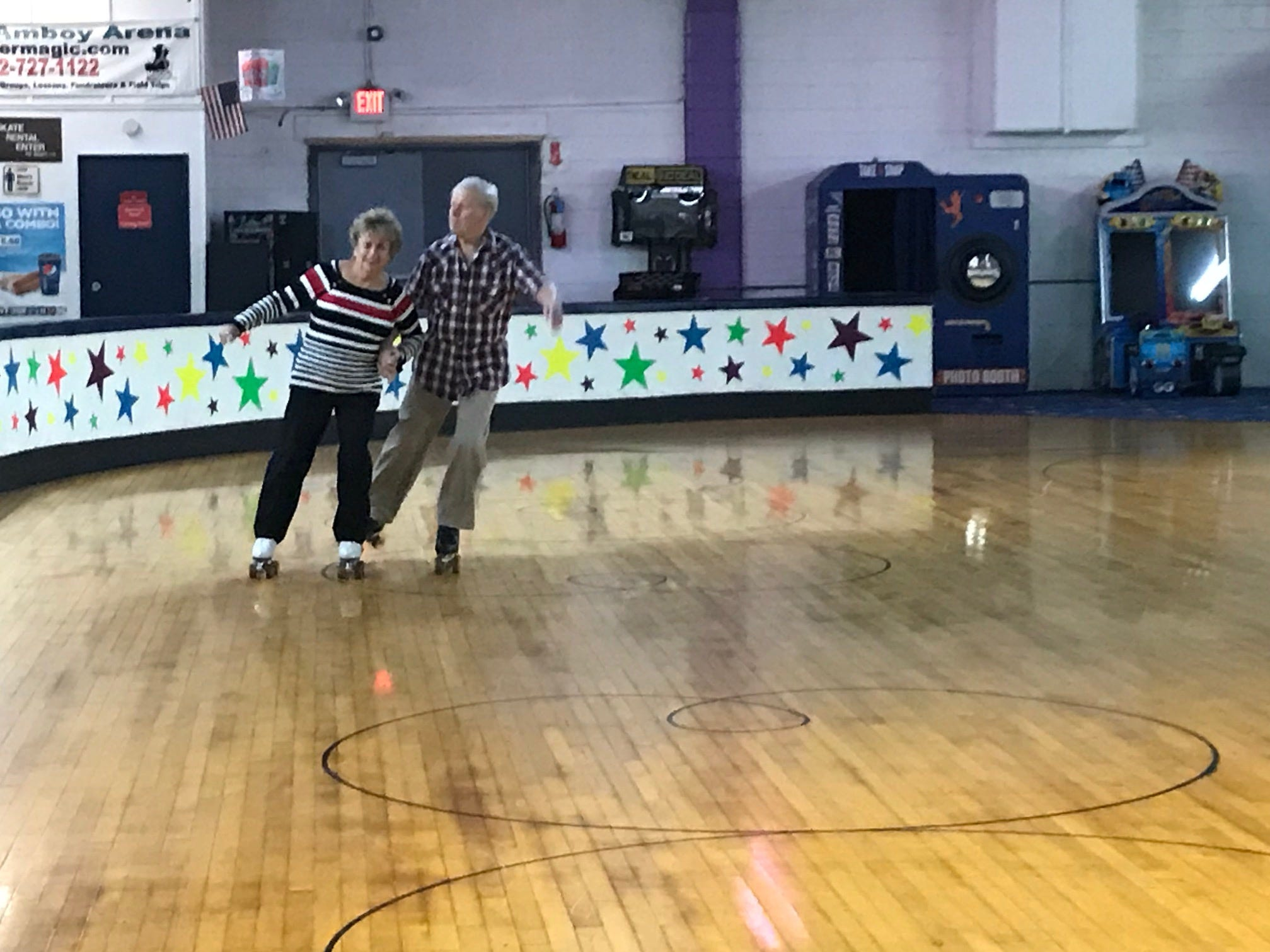 At least twice a week, more than 20 seniors, including Joannie Costello of Woodbridge and Eddie Daly of Newark, regularly gather at South Amboy Arenaand take to the rink for a couple hours of roller skating. They range in age from 55 to 100.