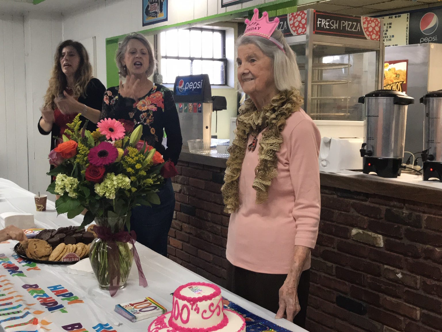 Carrie Callandrullo celebrated her 100th birthday Nov. 14 with her friends at the skating rink.At least twice a week, more than 20 seniors regularly gather at South Amboy Arenaand take to the rink for a couple hours of roller skating. They range in age from 55 to 100.