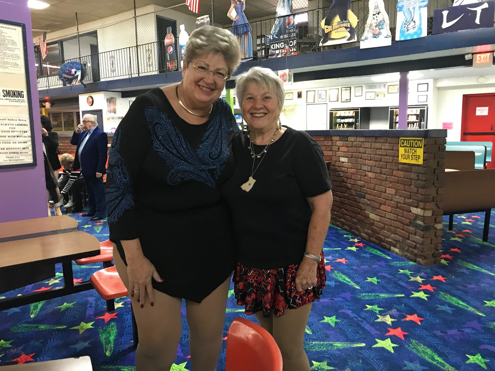 At least twice a week, more than 20 seniors, including Darlene Ostewik of Brooklyn and Joan Beviano of Linden, regularly gather at South Amboy Arenaand take to the rink for a couple hours of roller skating. They range in age from 55 to 100.