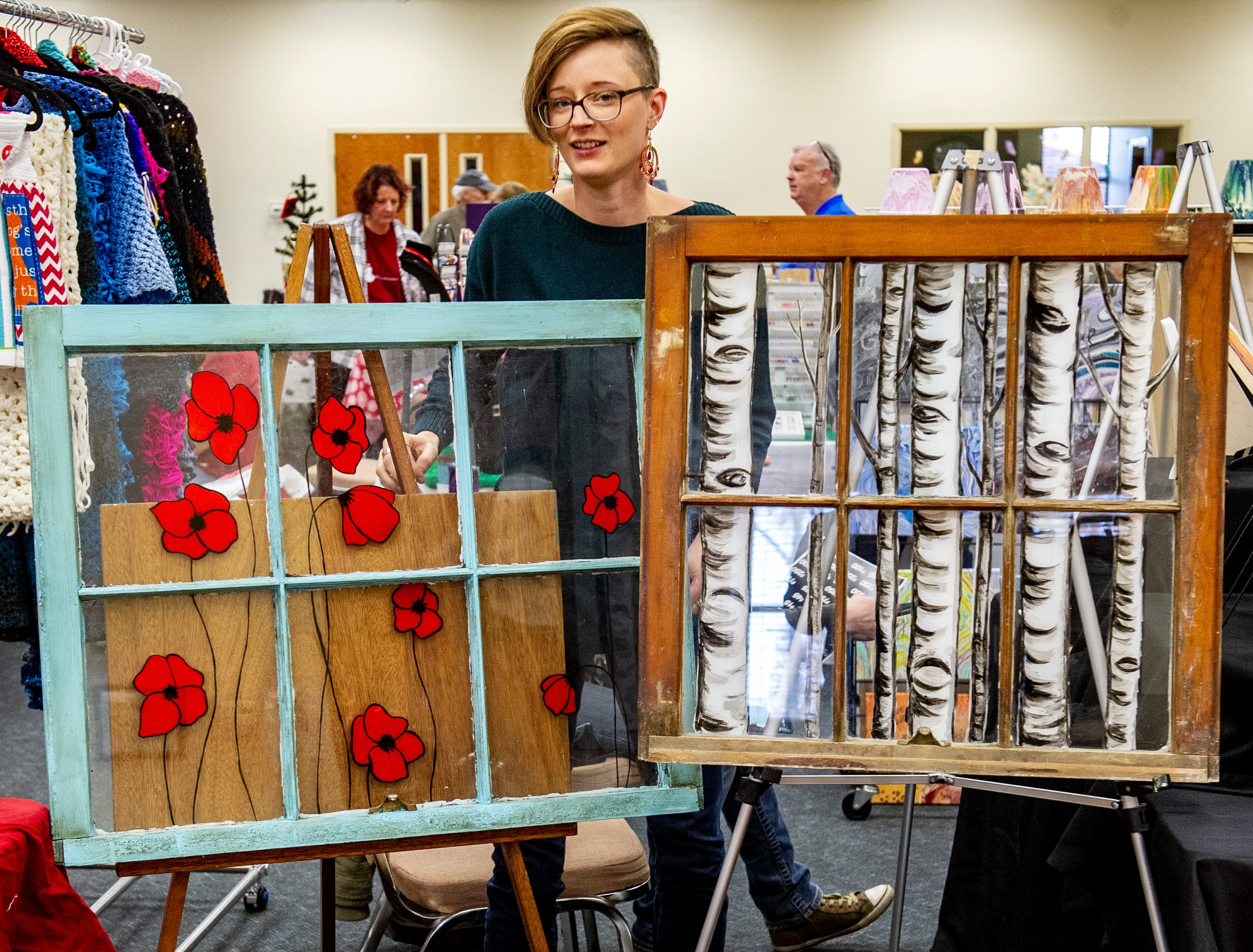 Indianola artist Megan Endriss displayed several re-purposed items for art at the Rustiqueiowa Homespun Holiday Market held at the Trinity Presbyterian Church in Indianola Nov. 24, 2018.