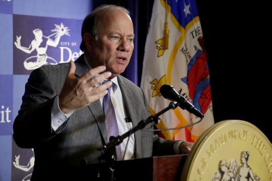 Detroit Mayor Mike Duggan held a news conference Monday, Nov. 26, 2018 at the Coleman A. Young Municipal Center in Detroit. Duggan announced that he asked the State Police to open an investigation into the conduct of Robert Carmack, a city businessman whose agitation campaign against Duggan went public earlier in November.