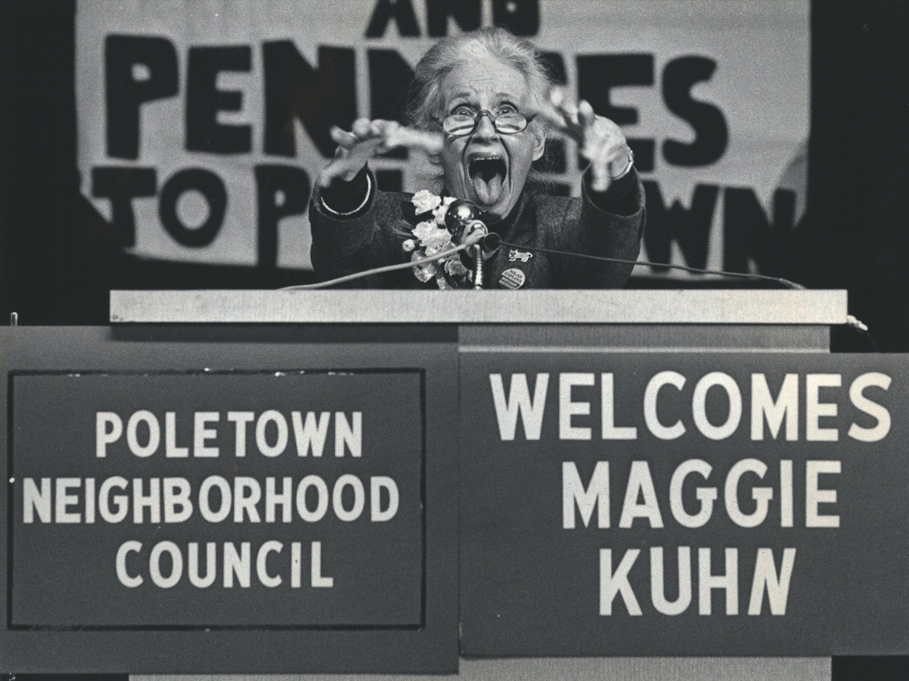 Maggie Kuhn, founder of the Gray Panthers, a national advocacy group for the aged, blasted General Motors Corp. and the City of Detroit in a speech to Poletown supporters and residents Sunday at Immaculate Conception Church.