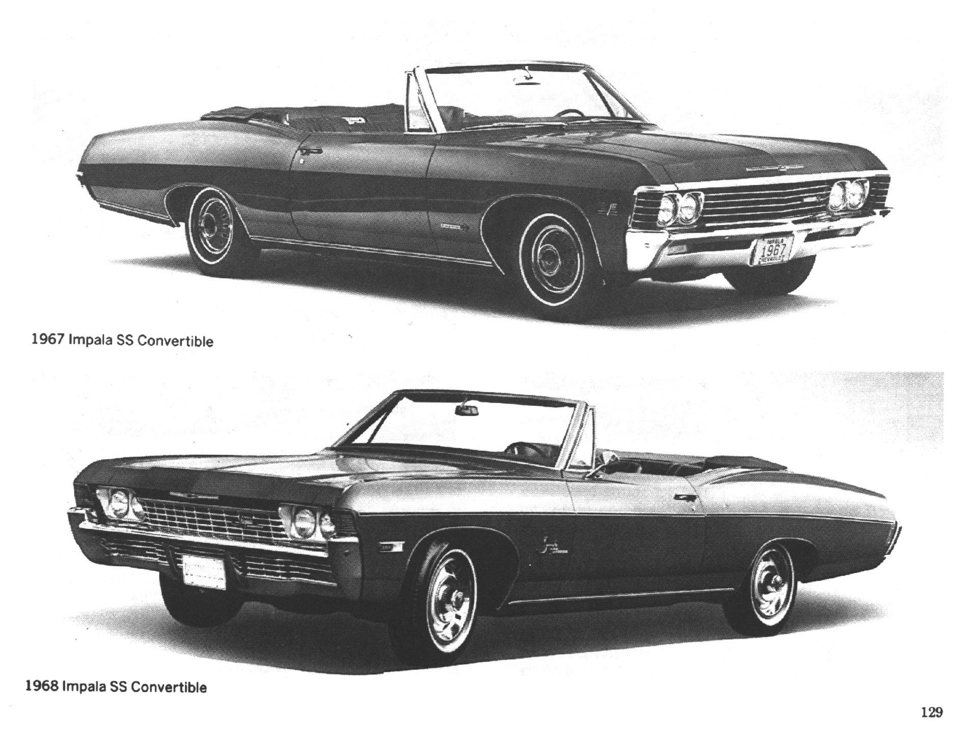 Top 1967 Chevrolet Impala SS convertible, bottom, 1968 Impala SS convertible.