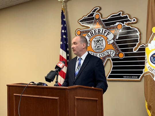 Wayne County Undersheriff Daniel Pfannes speaks to media on Monday Nov. 26, 2018 about an incident involving a deputy who shot and killed a inmate during a violent struggle within an ambulance traveling down the freeway on Nov. 23, 2018.