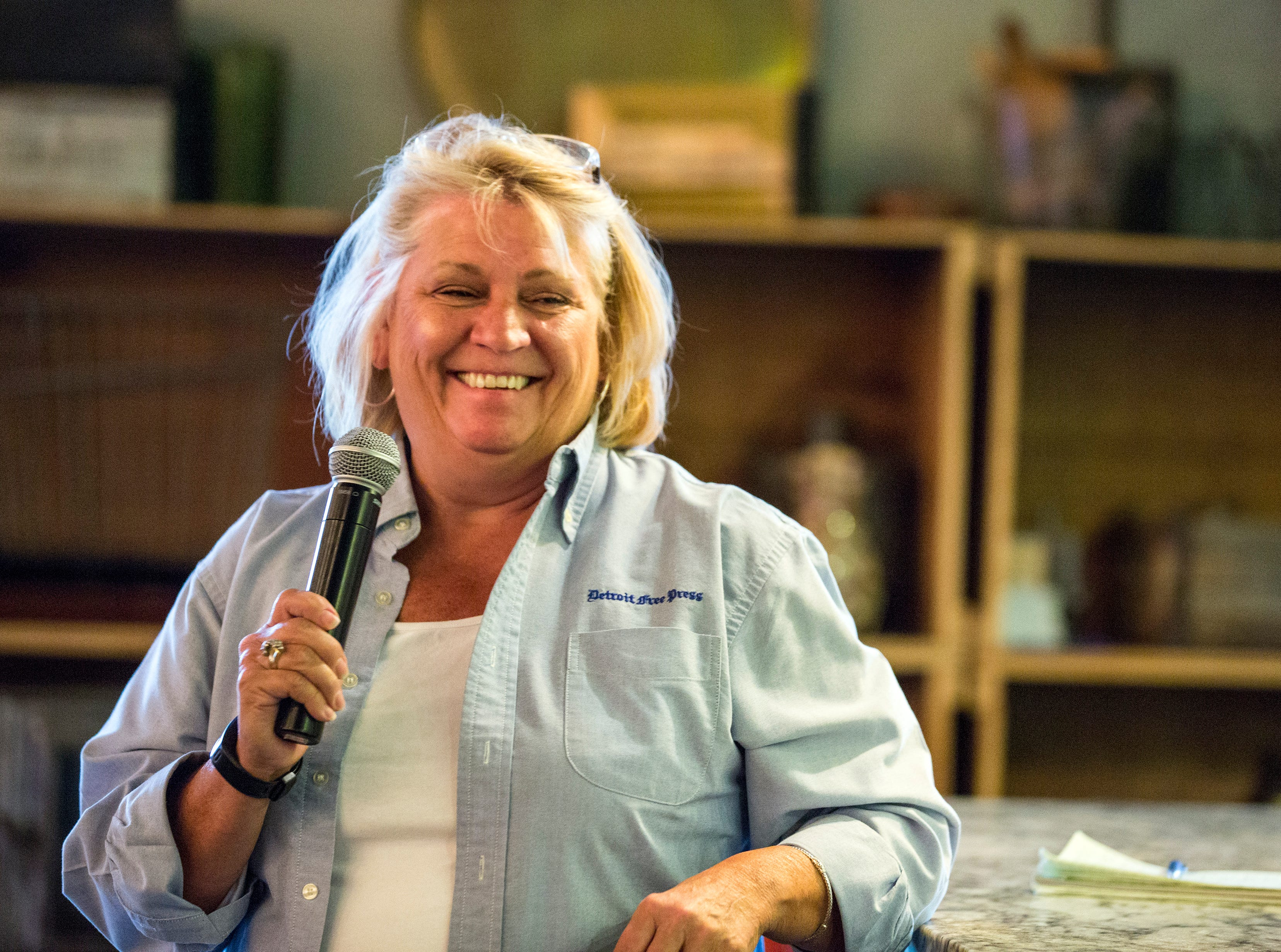 Detroit Free Press Reporter Sue Selasky hosts the sold-out Whisked event at the Great Lakes Culinary Center in Southfield, Mich., Sunday, Nov. 18, 2018.
