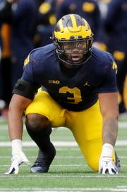 Michigan's Rashan Gary lines up during action against Penn State at at Michigan Stadium  on Saturday, November 3, 2018.