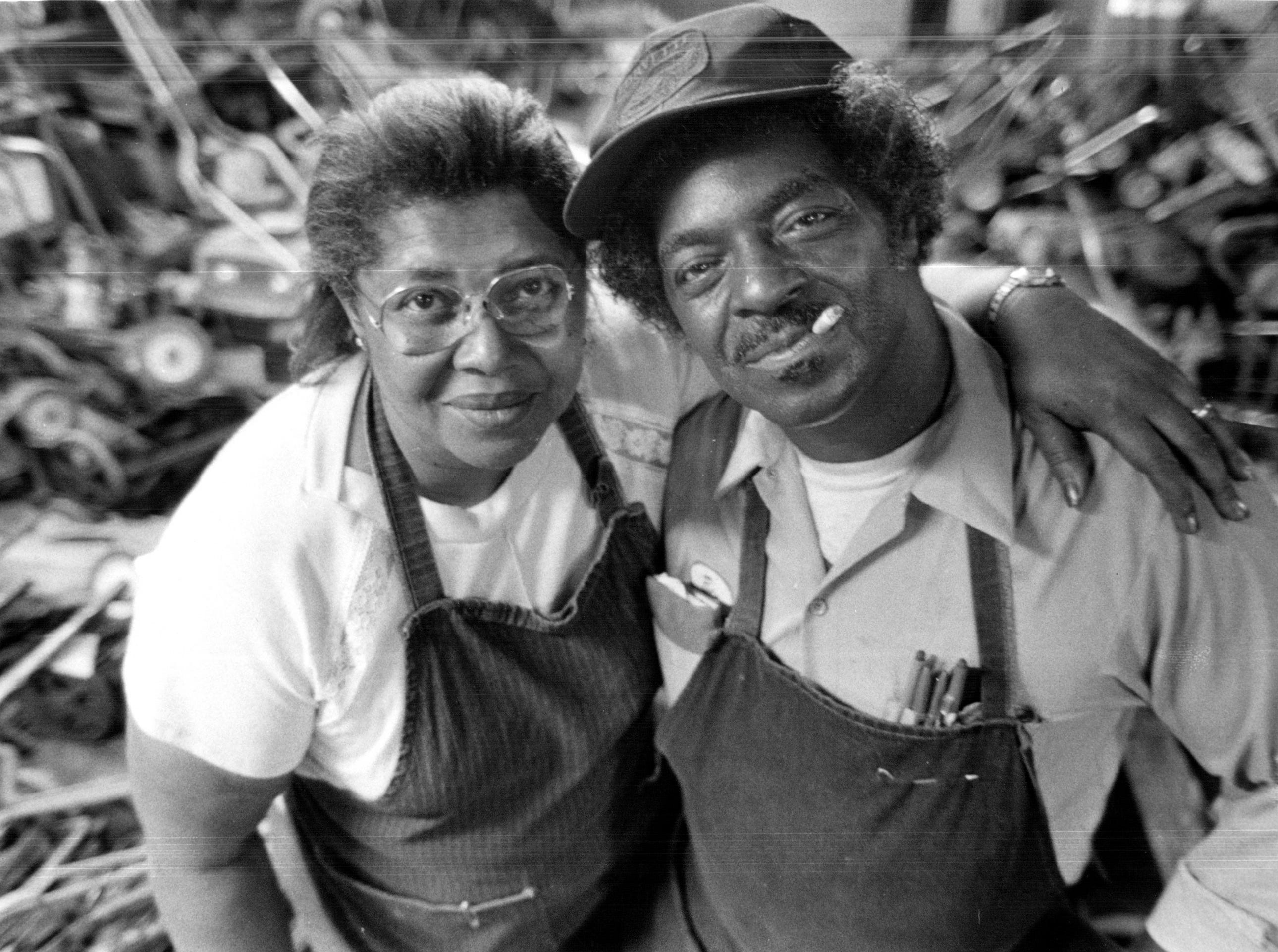 "1985: Ethel and WIllie Feagan, in the shop they're now leasing. ""We had a wonderful business in Poletown, and the relocation ruined it,"" says Ethel. Three years ago, the city bought them a new house on Detroit's east side for $34,000. It also bought a building for their business. But nothing seemed to go right after that."