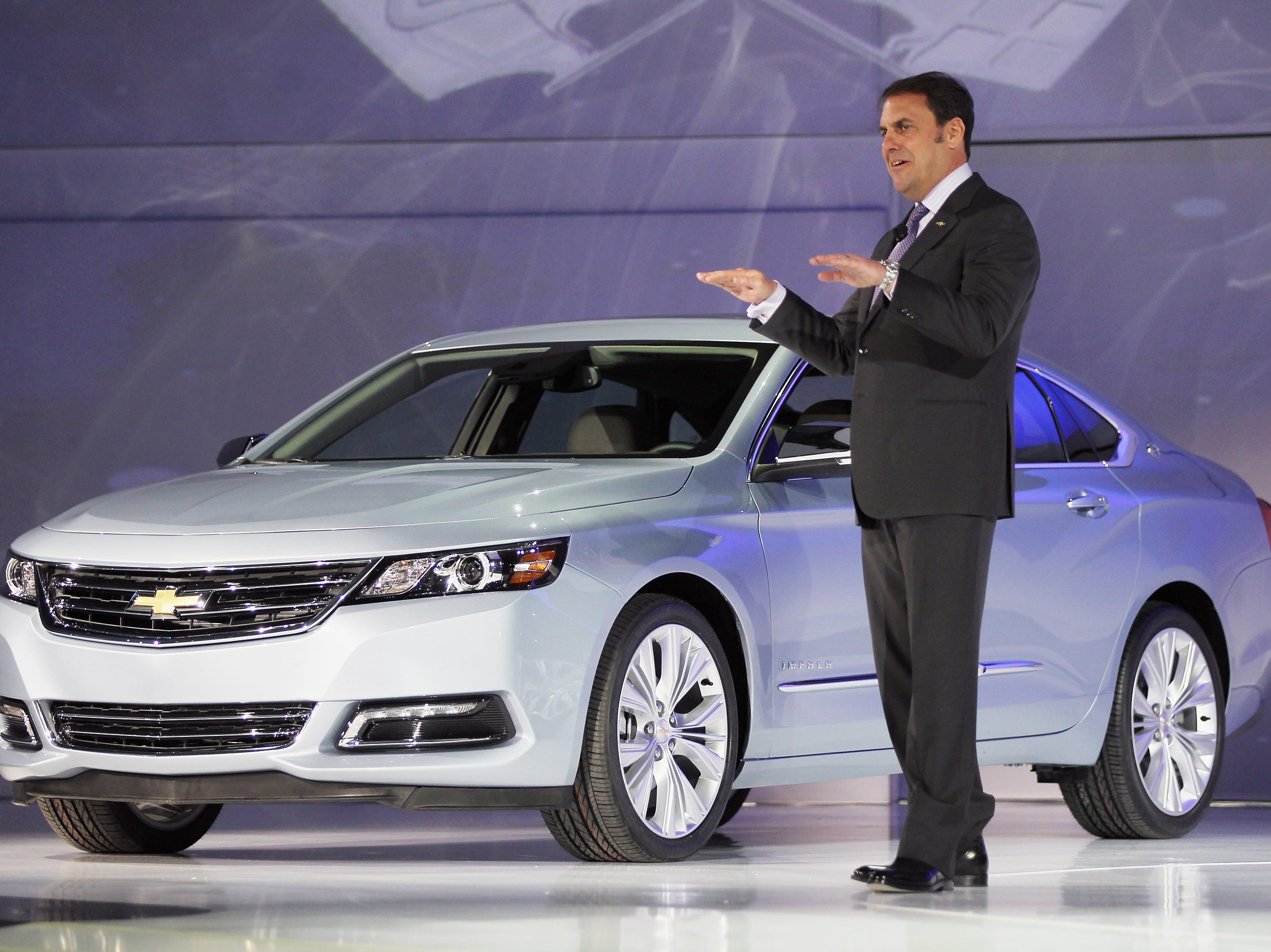 Mark Reuss, President of General Motors North America, introduces the newly unveiled 2014 Chevrolet Impala at the New York International Auto Show at the Jacob Javits Convention Center on April 4, 2012 in New York City.