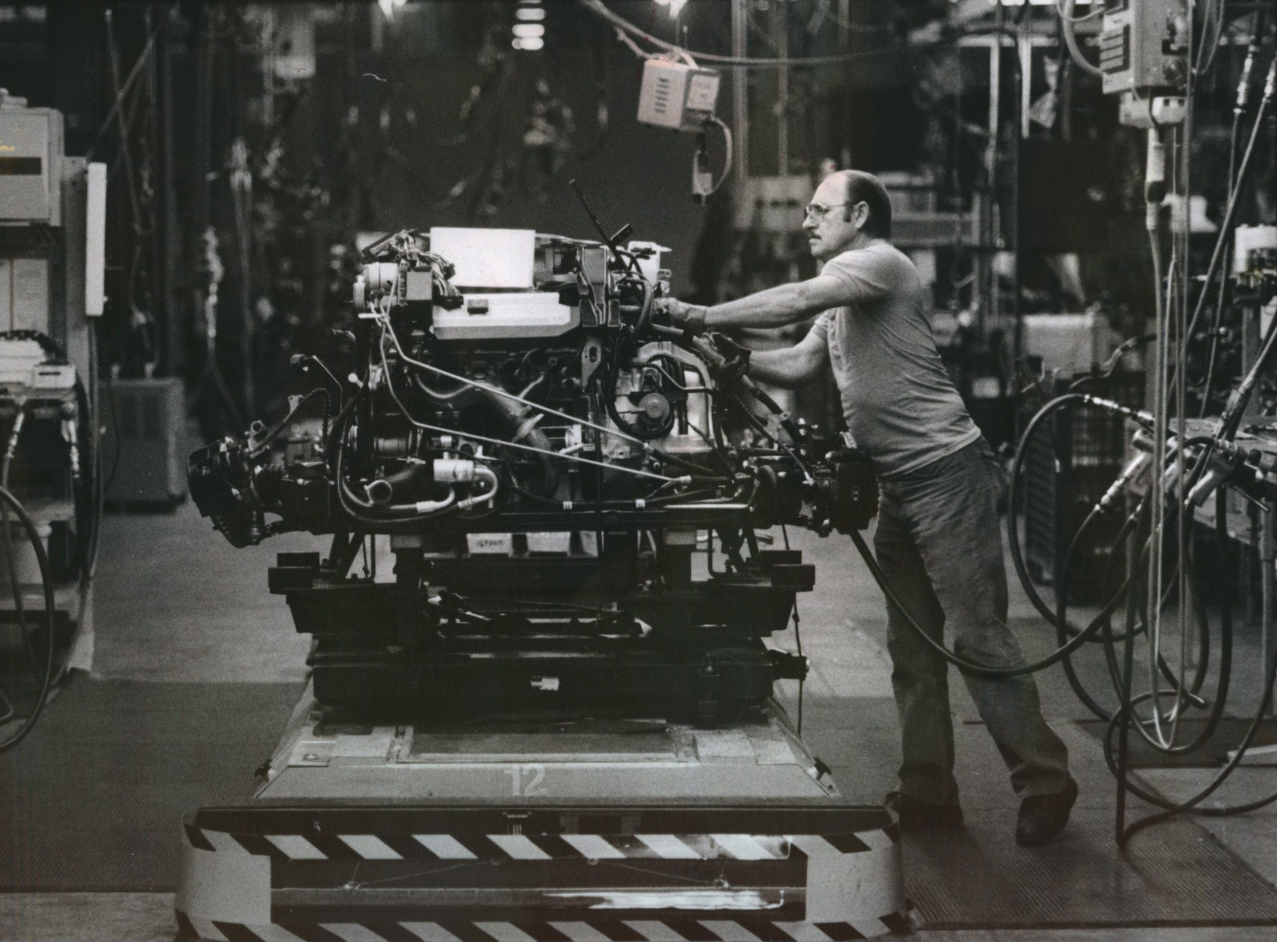 A worker at GM's Poletown plant.
