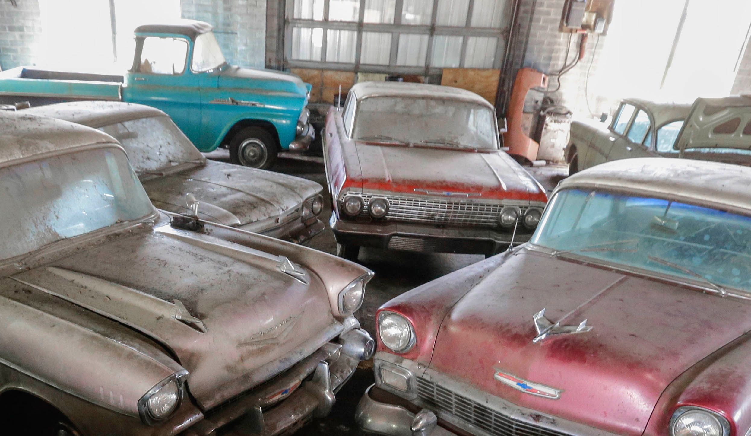 Chevrolet cars fill the showroom of the former Lambrecht Chevrolet car dealership in Pierce, Neb.in August 2013. The 1963 Chevrolet Impala is in the center back of the photo.