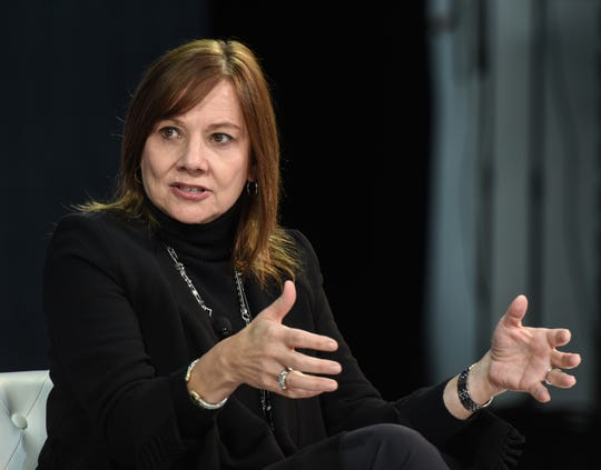 Mary T. Barra, chairman and CEO of General Motors, speaks at the New York Times DealBook conference on Nov. 1, 2018, in New York City.