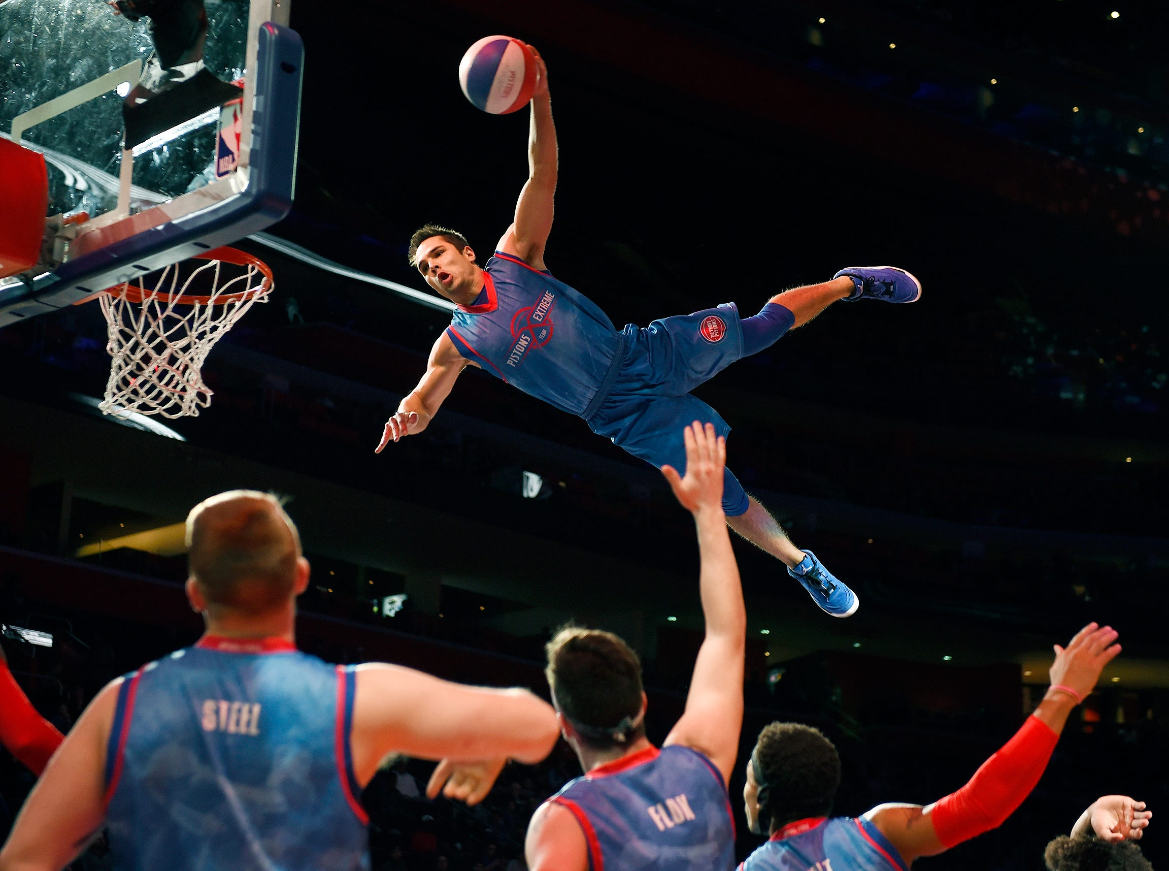 The Pistons Extreme Team performs during a break in the Pistons 118-107 victory over the Phoenix Suns in Detroit, Sunday, November 25, 2018.
