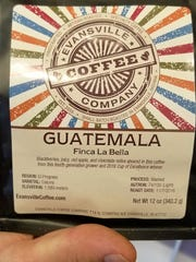Evansville Coffee Company labels give detailed information on each coffee, such as flavor profile, country of origin, elevation of the growing region, processing method, roast level, and roast date.