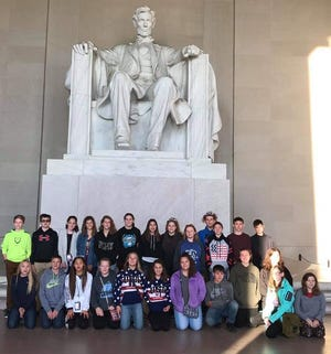 Danbury Middle School eighth graders visited the Lincoln Memorial during a trip in early November.