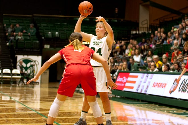 Mollie Mounsey, shown preparing to make a pass during a Nov. 25 game against Cornell, and her teammates on the CSU women's basketball team will play a rare weekday matinee at 11:30 a.m. Wednesday at Moby Arena against Northern Arizona.