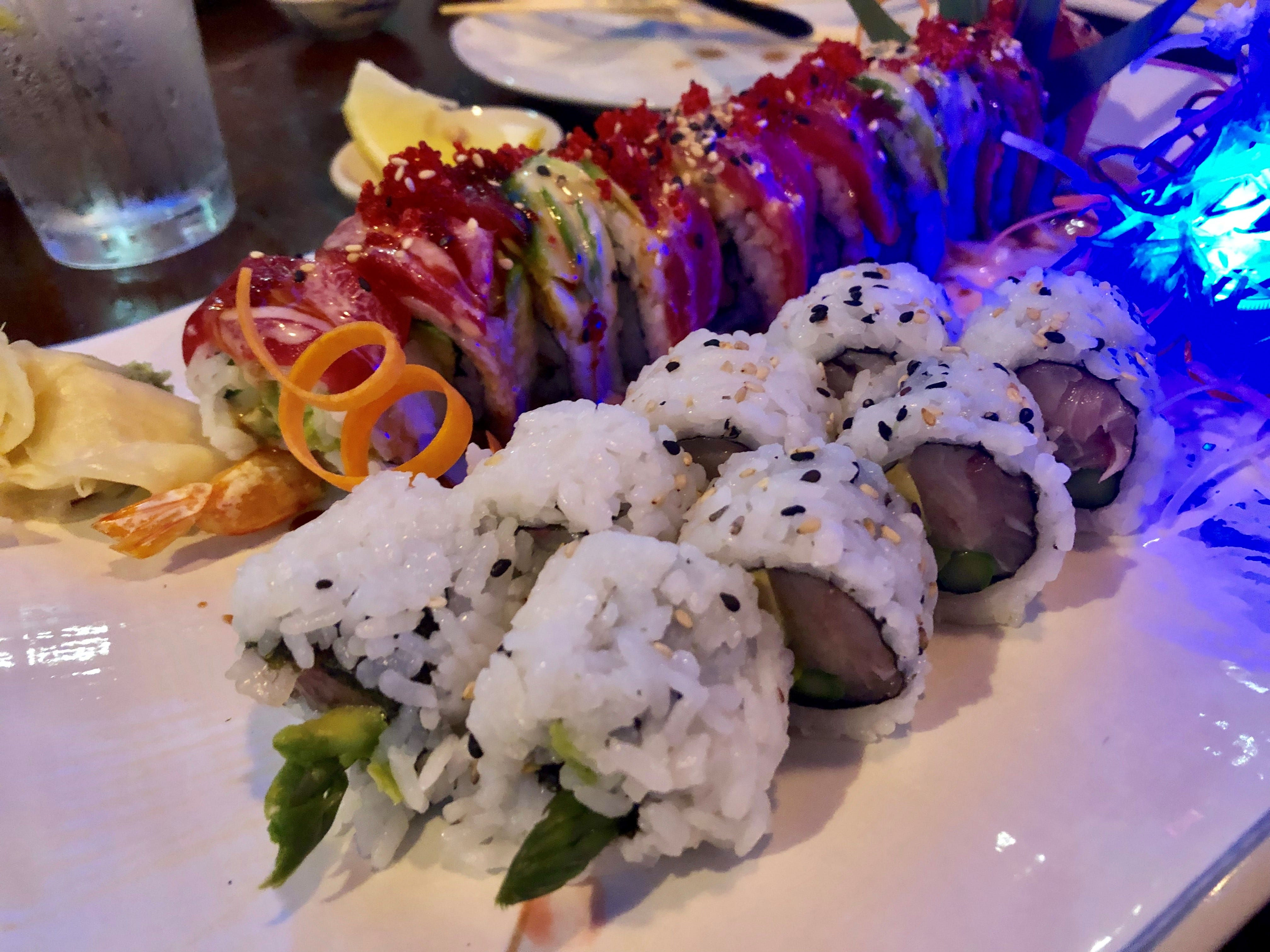 A pair of specialty sushi rolls from Ninja Thai & Sushi Bar in south Fort Myers.