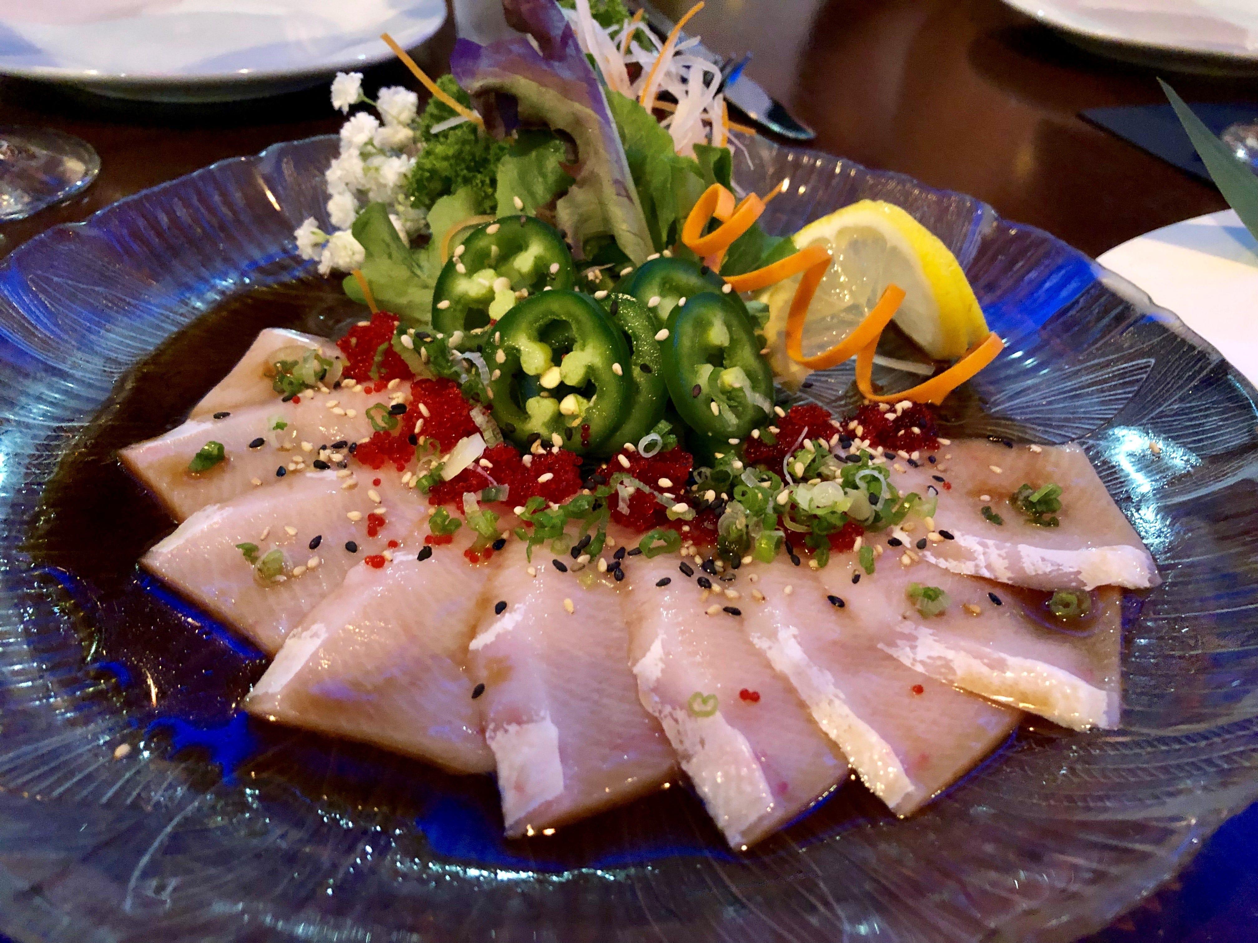 Hamachi sashimi with masago and fresh jalapenos from Ninja Thai & Sushi Bar in south Fort Myers.