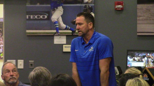FGCU volleyball head coach Matt Botsford addresses the gathering at Alico Arena before finding out his Eagles will take on UCF in their NCAA Tournament debut on Nov. 29.