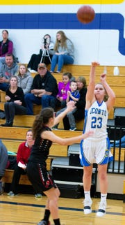 Oconto freshman Maggie Sohrweide   drains one of her shots during the first half of the Nov. 20 game with Sevastopol, ending the game with 10 points.
