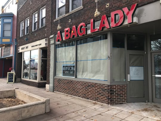 A Bag Lady moved one storefront down, to 127 N. Broadway, in order to make way for Amphora Wine Bar, 131 N. Broadway, which will open in early 2019.