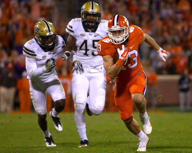 Nov 12, 2016; Clemson, SC, USA; Clemson Tigers wide receiver Hunter Renfrow (13) carries the ball during the second half against the Pittsburgh Panthers at Clemson Memorial Stadium. Mandatory Credit: Joshua S. Kelly-USA TODAY Sports