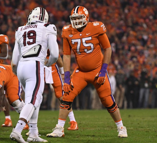 Clemson offensive lineman Mitch Hyatt (75) lines up with South Carolina defensive lineman Brad Johnson(19) during the first quarter in Memorial Stadium on Saturday, November 24, 2018.