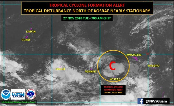 A tropical disturbance near Kosrae has a high probability of developing into a significant tropical cyclone during the next 24 hours, according to forecasters. The area of concern is show in this satellite image provided by the National Weather Service.