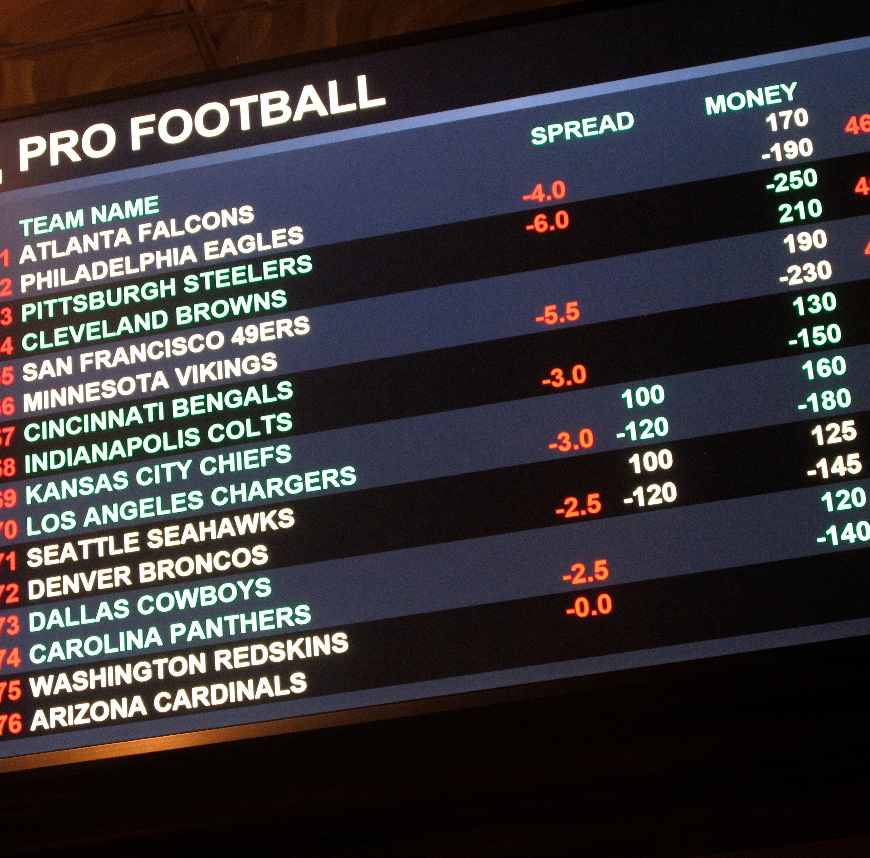 A board at Harrah's casino in Atlantic City lists the odds on pro football games in the first week of the NFL season.
