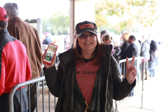 Mimi Owens of New Orleans, La., attends a President Trump rally in Biloxi on Nov. 26, 2018, ahead of the US Senate runoff election between Cindy Hyde-Smith and Mike Espy. Trump is campaigning for Cindy Hyde-Smith.