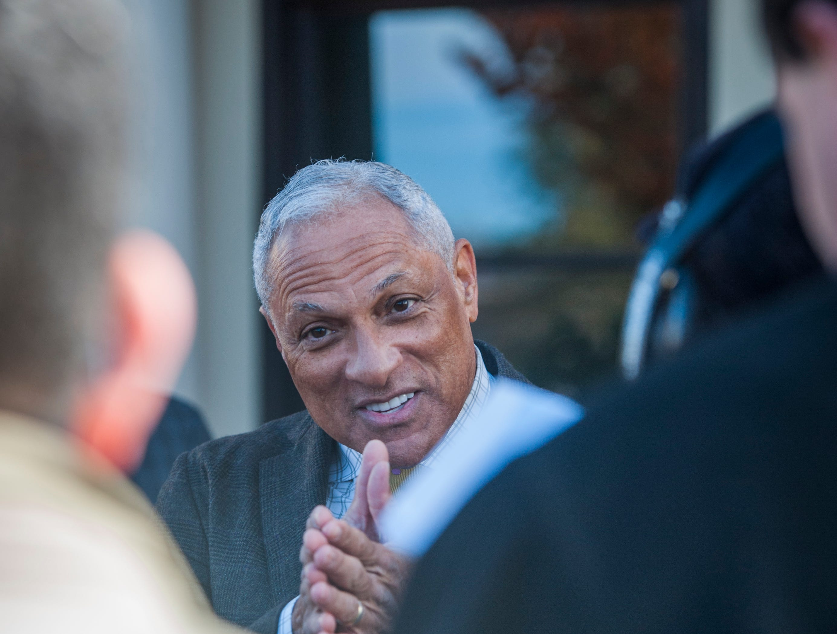 Senate candidate Mike Espy answers questions from media outside Local 463 in Ridgeland Monday, Nov. 26, after he and his wife, Portia, stopped by the restaurant for lunch. Voters head to the polls today, Tuesday, Nov. 27, for a runoff to see who will serve the final two years of retired Sen. Thad Cochran's term, Espy or Cindy Hyde-Smith.