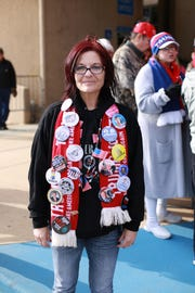 Jennifer Kirkland of Kiln, Miss., is part of a crowd waiting to see President Donald Trump speak at a rally at the Mississippi Coast Coliseum and Convention Center on Nov. 26, 2018, in support of U.S. Senate candidate Cindy Hyde-Smith.