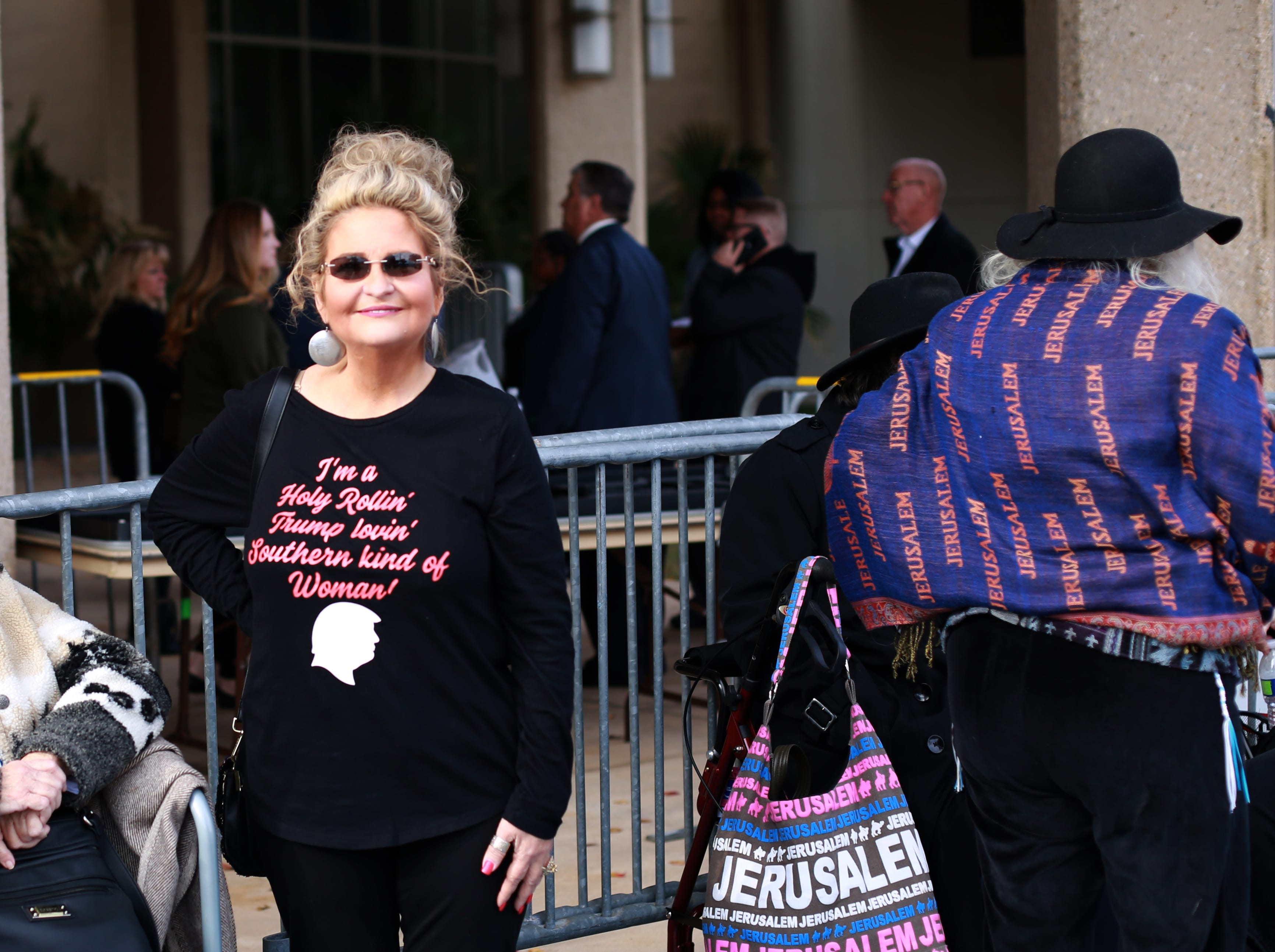 Cindy Crain or Slidell, La.,  is part of a crowd waiting see President Donald Trump speak at a rally at the Mississippi Coast Coliseum and Convention Center on Nov. 26, 2018, in support of U.S. Senate candidate Cindy Hyde-Smith.