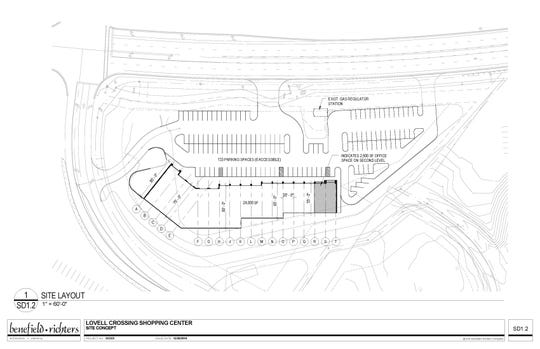 A site layout of the planned Village at Lovell Road retail and office space development.