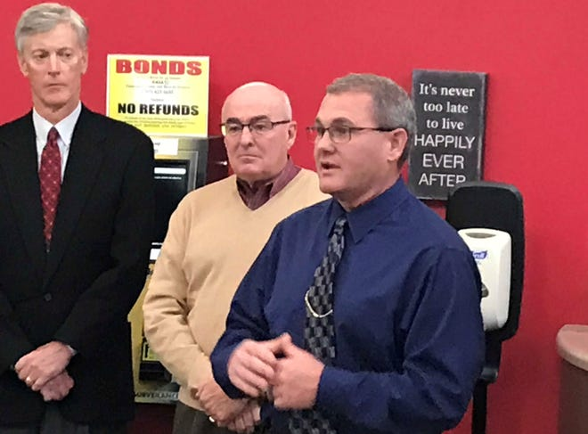 Tippecanoe County Sheriff-elect Bob Goldsmith, right, announced Monday morning that sheriff's Capt. Terry Ruley will be the chief deputy when he takes office in January.