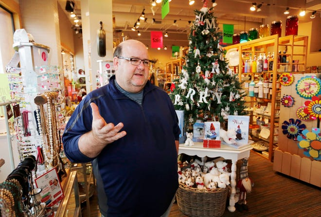 """Owner Michael Brouillette discusses closing the doors at Interior Objects Monday, November 26, 2018, at 2200 Elmwood Avenue, Suite A4, in the Market Square Shopping Center. Brouillette said he has lots of mixed emotions since deciding to close the store. """"All good things must come to an end,"""" he said. A liquidation sale will begin Thursday, November 29 at 10 a.m."""