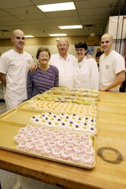Three generations of Guilbeaux's work the Southside Bakery (from left to right) Denny Guilbeaux, Edith Guilbeaux, Sammy Guilbeaux, Gerry Guilbeaux and Billy Guilbeaux.