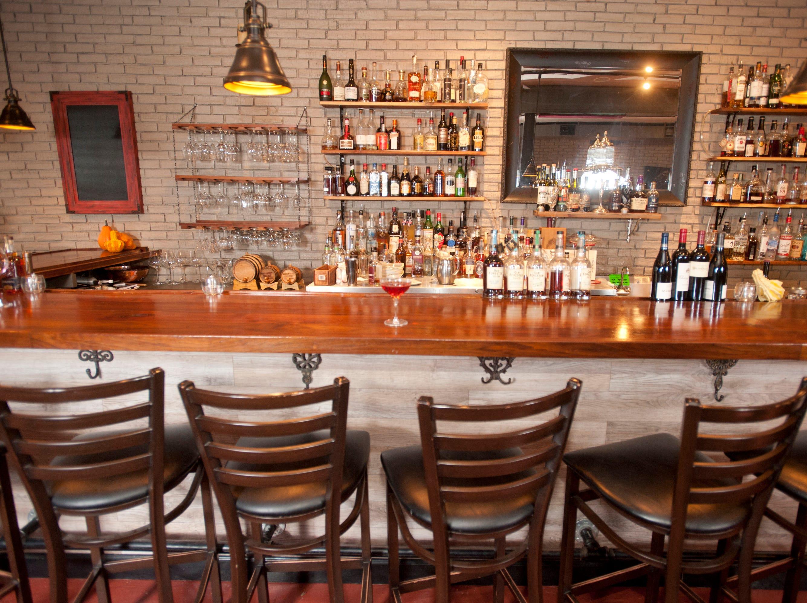 The bar at La Chasse Restaurant on Bardstown Road.November 15, 2018