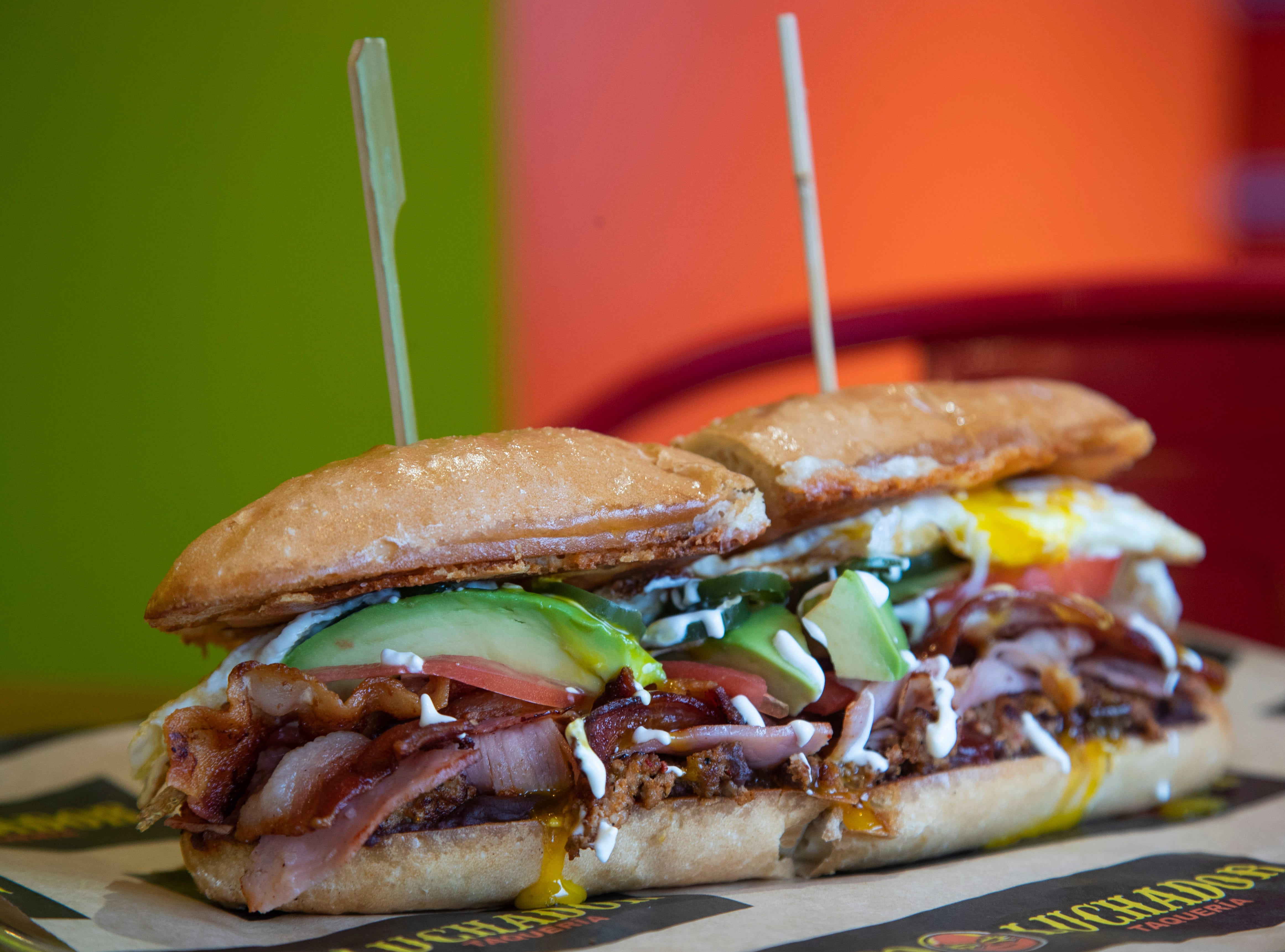 The Deayuno from Taco Luchador has bacon, Mexican chorizo, smoked ham with a fried egg.