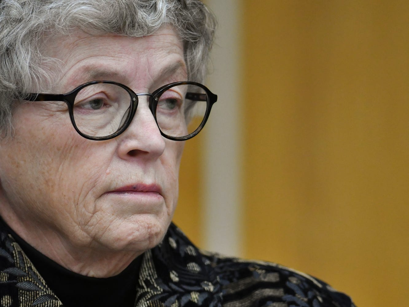 Former MSU President Lou Anna Simon listens as Judge Julie Reincke reads off charges in Eaton County Court Monday, Nov. 26, 2018, during her arraignment on four charges of lying to police related to the Larry Nassar investigation.  [AP Photo/Matthew Dae Smith/Lansing State Journal]