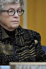 Former MSU President Lou Anna Simon listens as Judge Julie Reincke reads off charges in Eaton County District Court Monday, Nov. 26, 2018, during her arraignment on four charges of lying to police related to the Larry Nassar investigation.